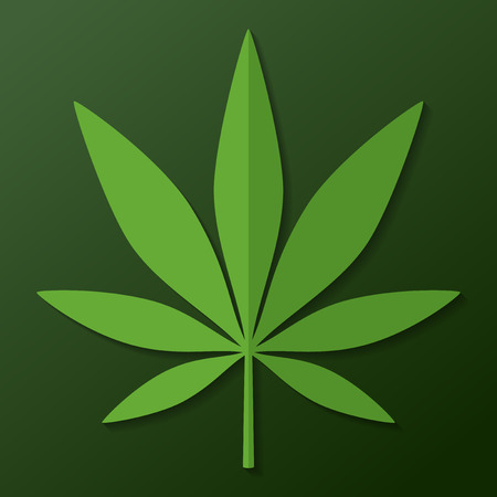 Cannabis leaf on dark green background Illustration