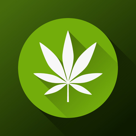 Cannabis leaf with long shadow