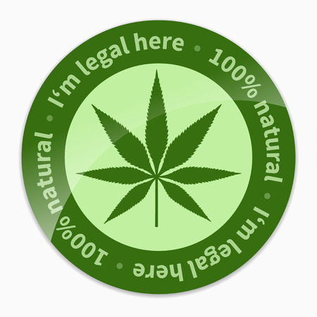 marihuana leaf: Cannabis leaf - green legal sign