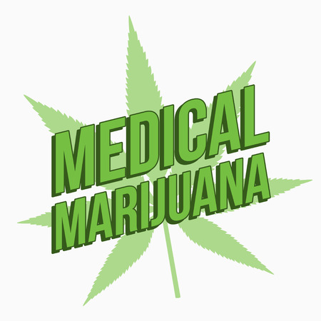 Medical marijuana sign with light green cannabis leaf Vector