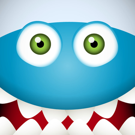 Blue Monster face with green eyes and mouth full of teeth Vector