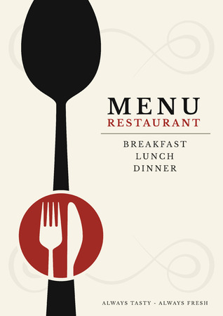 Gastronomy - Restaurant menu cover, fork and knife Vector