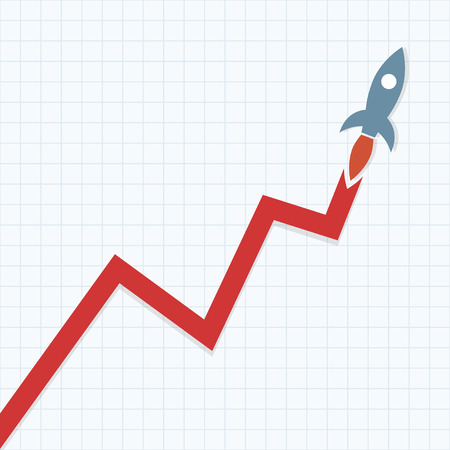 stock market charts: Profit Graph with Space rocket