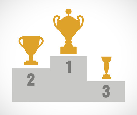 first place: Winner podium with gold trophy cups