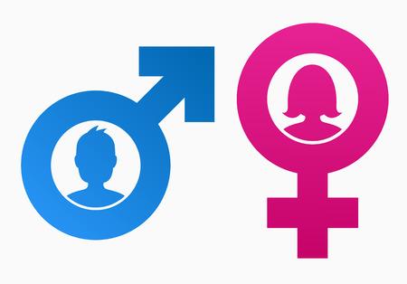 sexo femenino: Símbolos del género con cabeza de hombre y mujer Vectores