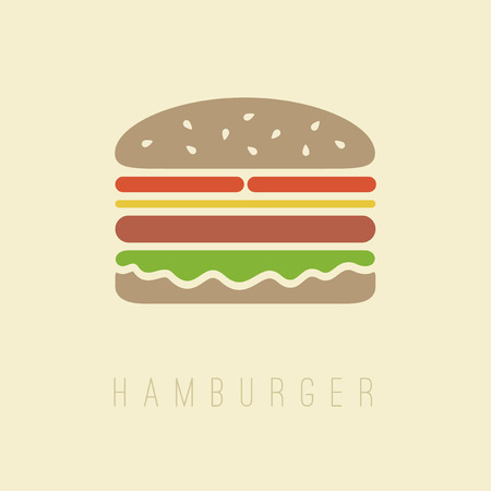 cheese burger: Flat hamburger symbol on light brown background