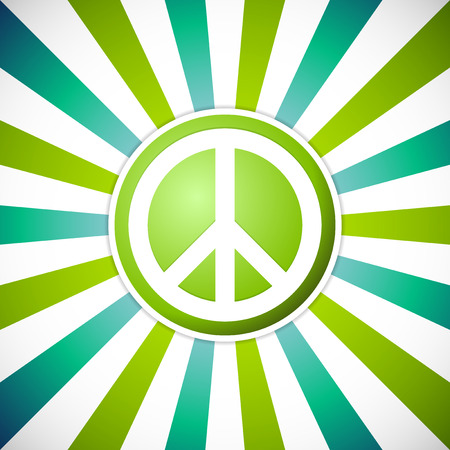 green sign: Peace symbol on sunburst background