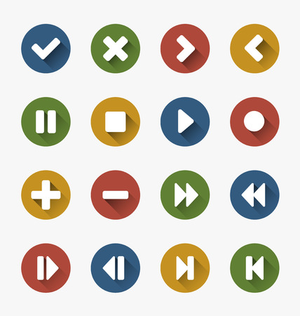 website buttons: Buttons - icons with common video and audio symbols