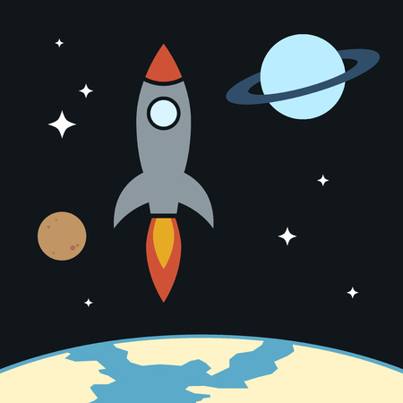 Space Rocket in the Universe Vector