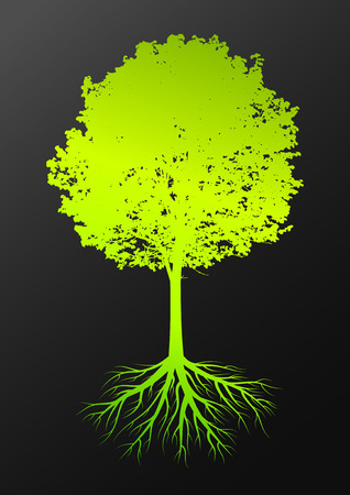 Tree silhouette with leaves and roots on dark background Vector