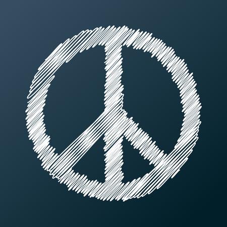 Doodle Peace symbol on dark blue background Vector