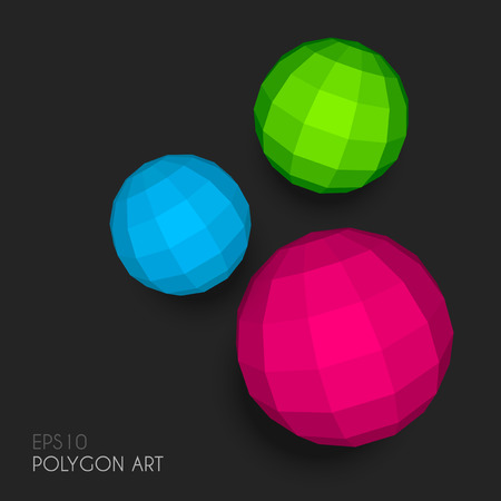 Polygon spheres on dark gray background Vector