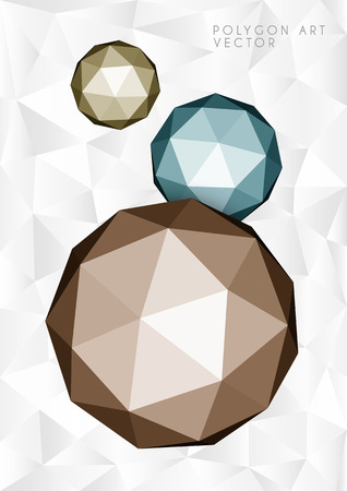 Polygon spheres on light low poly background Vector
