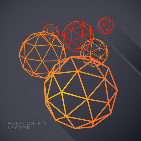 triangular shape: Outlined Polygon spheres on dark grey background Illustration