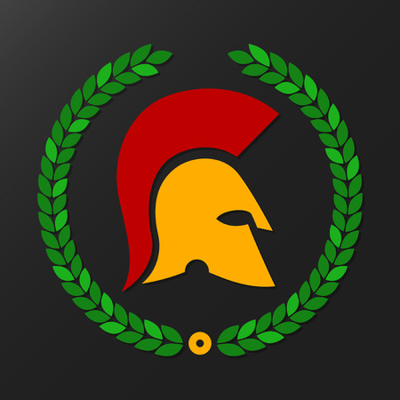 Spartan helmet with laurel wreath Vector