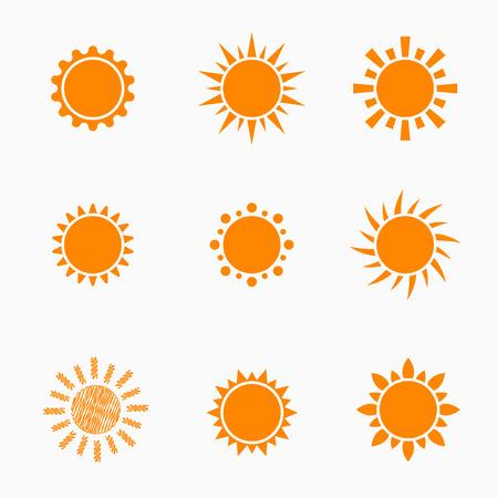 weather forecast: Orange Sun symbols set 2