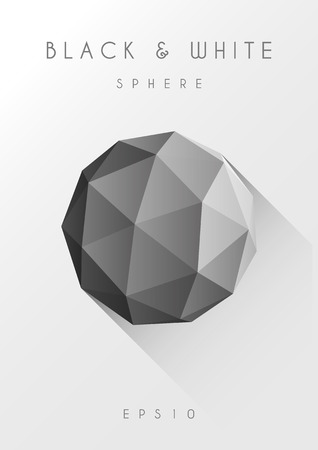 low light: Polygon sphere with long shadow Illustration