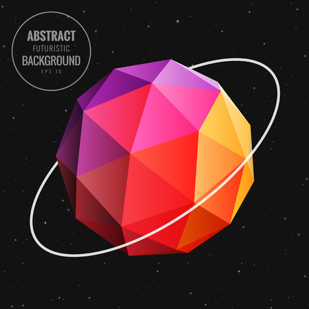 new age: Abstract low poly sphere in universe