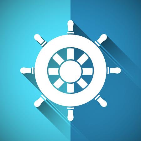 ship wheel: Rudder symbol with long shadow