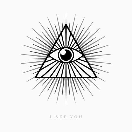 All seeing eye symbol on light background