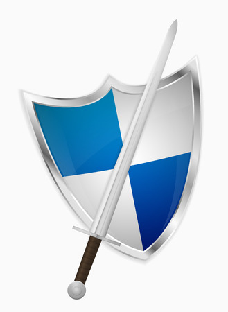 honor guard: Isolated medieval sword and shield on light gray background