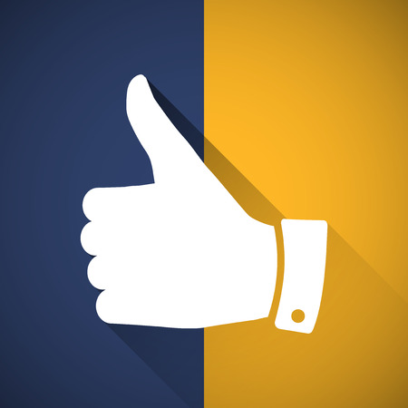 Thumbs up symbol with long shadow Vector