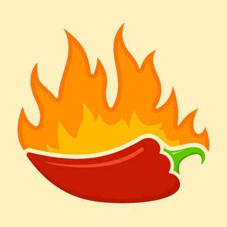 Hot Chilli paprika with flames Vector