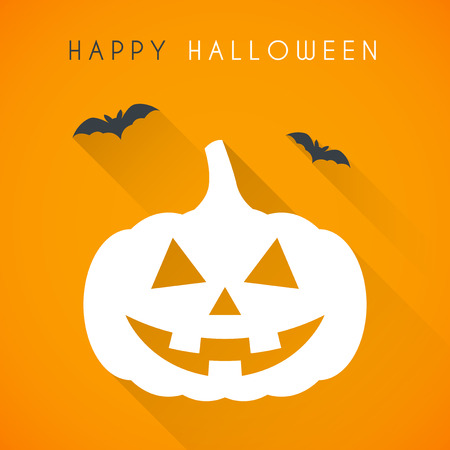 scary pumpkin: Simple Happy halloween card with pumpkin and bats Illustration