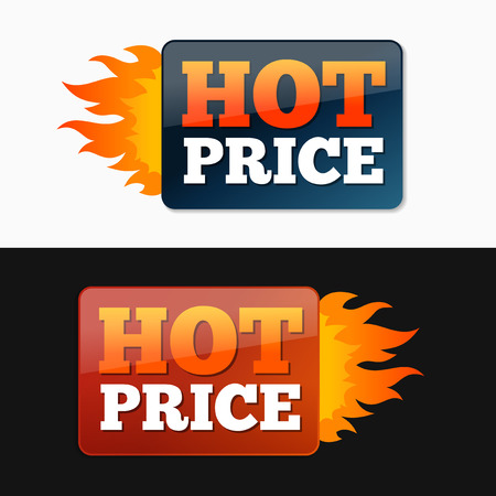 hot price: Hot price labels with flames