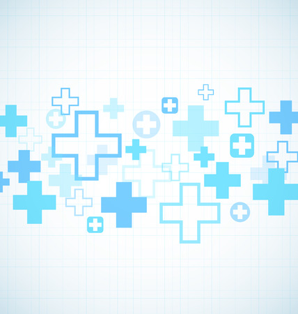 White and Blue medical design with crosses 矢量图像