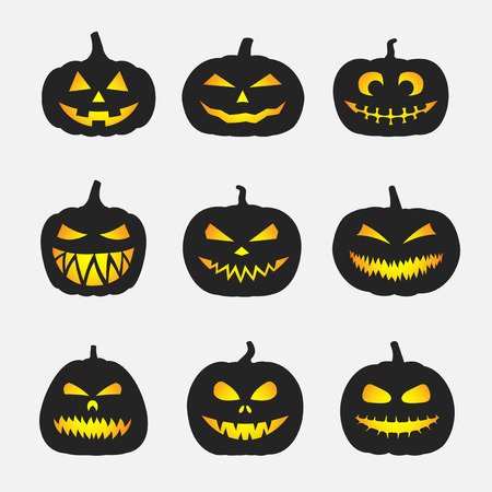 Halloween pumpkins with different faces and shapes set