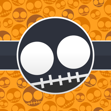 Happy halloween card with skulls Vector
