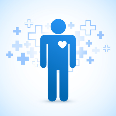 Blue healthcare silhouette with heart symbol  Vector