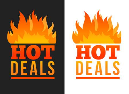 Hot deals labels with flames