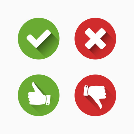 negative: Check and Cancel Marks Illustration