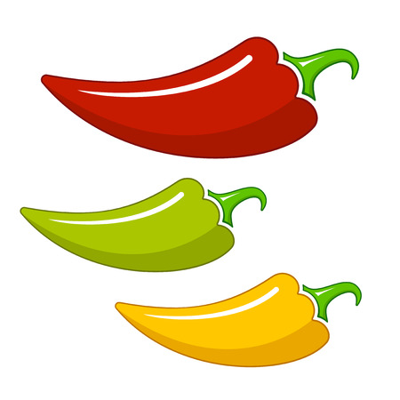 Drie verschillende Hot Chilli paprika Stock Illustratie