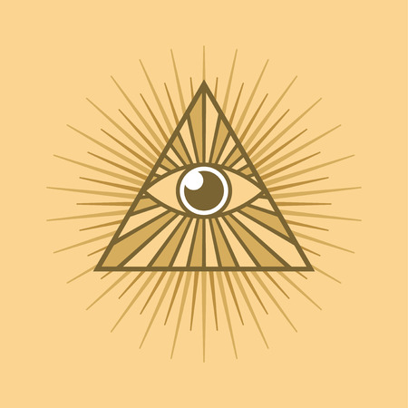 All seeing eye symbol on light background Vector