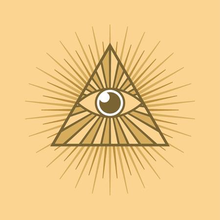 horus: Todo viendo símbolo del ojo en el fondo la luz
