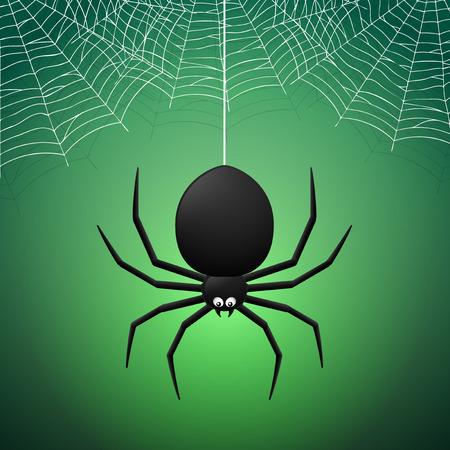 cobwebs: Spider and Cobwebs on green background Illustration