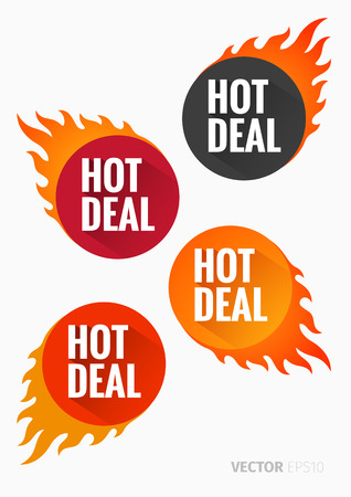 hot deal: Hot Deal labels with flames