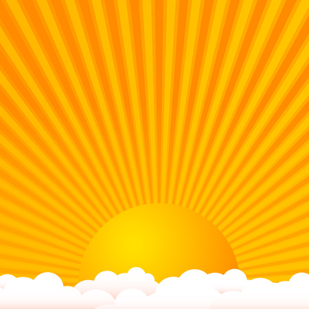 Sun above clouds with warm colors Vector Illustration