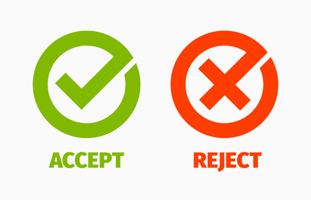 accept: Check and Cancel Marks Illustration