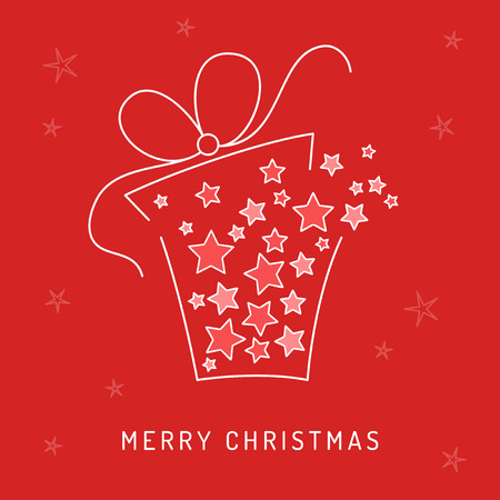 simple line drawing: Christmas card with gift full of stars Illustration
