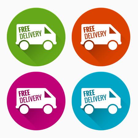 buen servicio: Etiquetas de entrega gratuita con larga sombra