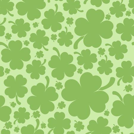 clover backdrop: Saint Patricks day design - Four leaf clover seamless pattern Illustration