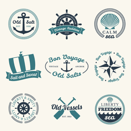ocean: Nautical labels set - 9 diferent designs Illustration