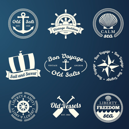 Nautical labels set - 9 diferent designs Vector
