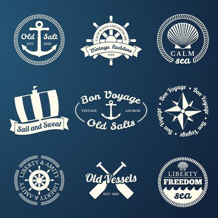 diferent: Nautical labels set - 9 diferent designs Illustration