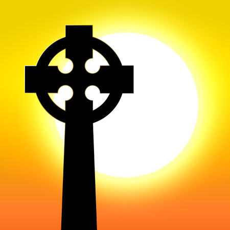 equinox: Celtic cross in front of sunset