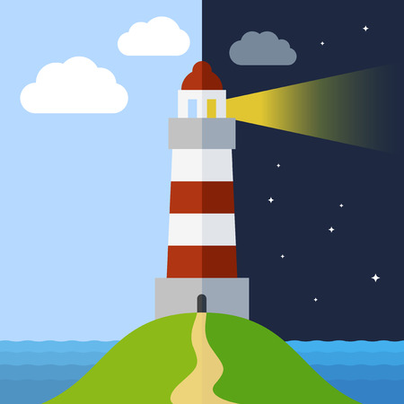 beacons: Lighthouse in day and night